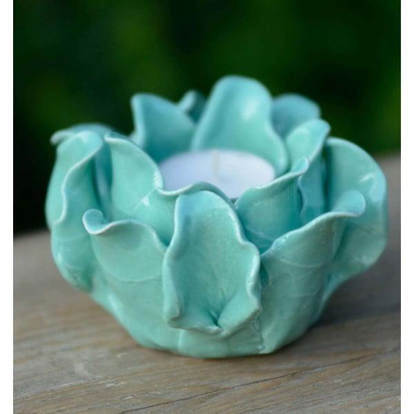 Ceramiczny świecznik Lotos, turkusowy
