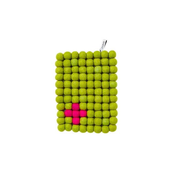 Wełniana podkładka Trivet Lime/Cross, 22x17 cm
