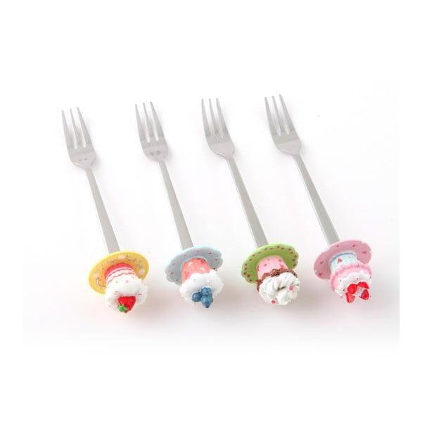 Zestaw 4 widelczyków deserowych Słodkości