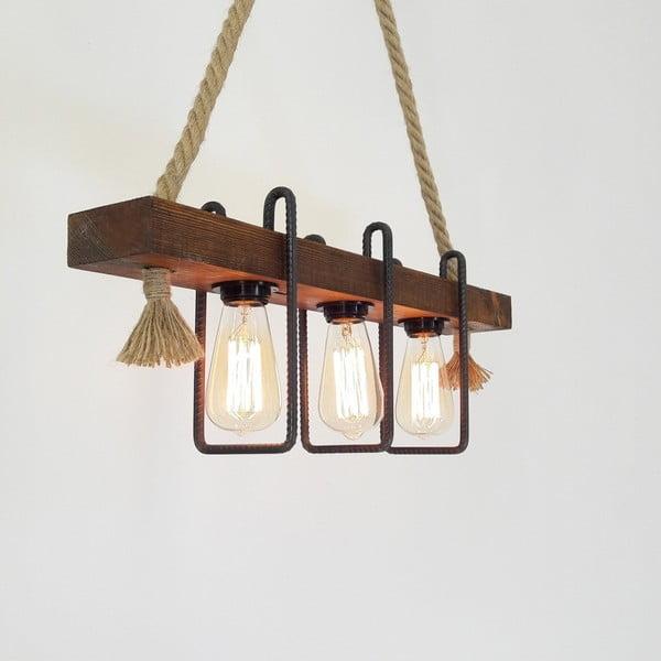 Drewniana lampa wisząca Demir, 3 żarówki