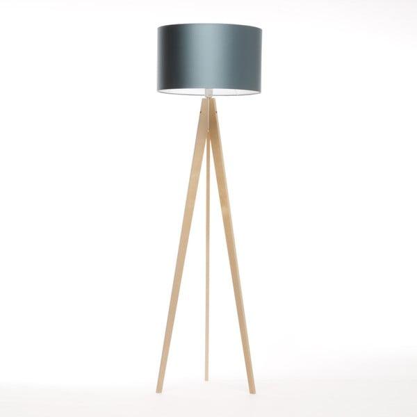 Niebieska lampa stojąca Artista, naturalna brzoza, 150 cm