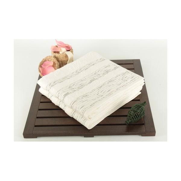 Zestaw 2 ręczników Cizgili Ecru, 50x90 cm