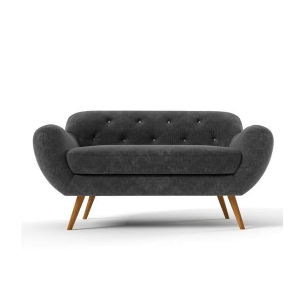 Ciemnoszara   sofa dwuosobowa z jasnoszarymi guzikami Wintech Zefir
