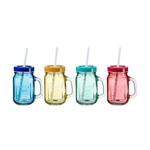 Zestaw 4 kolorowych szklanek z wieczkiem i słomką SUMMER FUN II, 450 ml