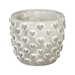 Doniczka Concrete Hearts, 15x18x18 cm