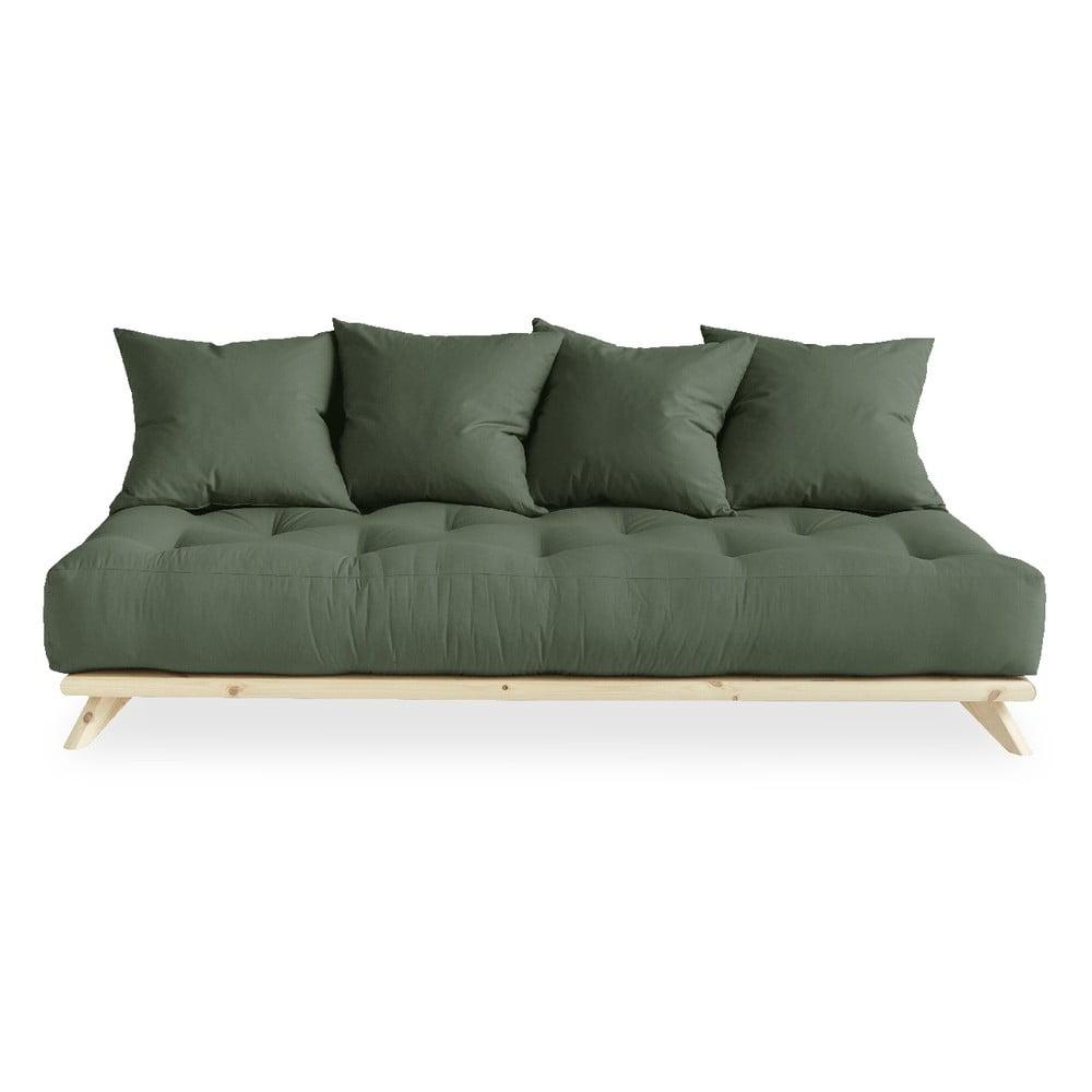 Sofa z zielonym obiciem Karup Design Senza Natural/Olive Green