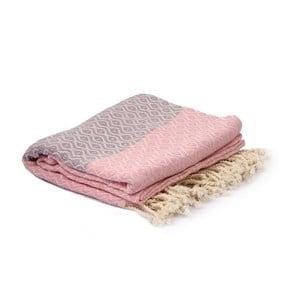 Fioletowo-różowy ręcznik hammam Spa Time Dot, 95x180cm