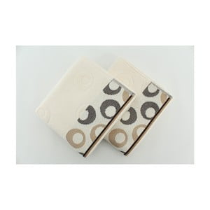 Zestaw 2 ręczników Arion Cream, Dark Brown, 50x90 cm