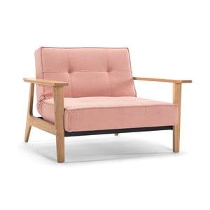 Jasnoróżowy fotel rozkładany z podłokietnikami Innovation Splitback Frej