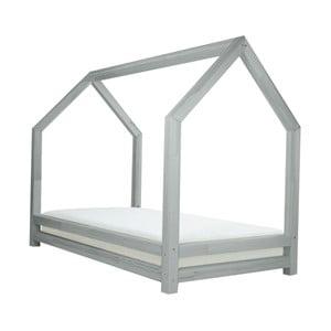Jasnoszare łóżko 1-osobowe z drewna sosnowego Benlemi Funny, 80x160cm