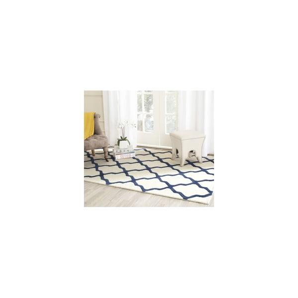 Wełniany dywan Ava 152x243 cm, biały/niebieski