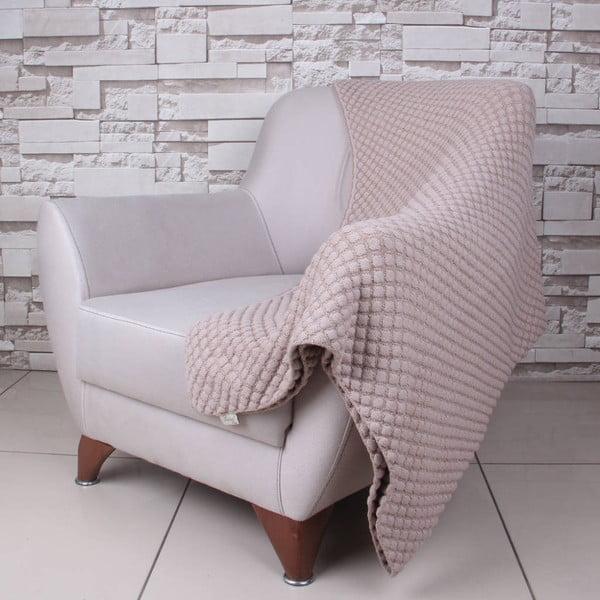 Beżowy koc bawełniany Homemania Ecru, 170x130 cm