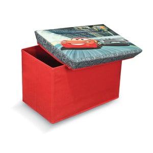 Czerwony puf ze schowkiem na zabawki Domopak Living Cars, dł. 49cm