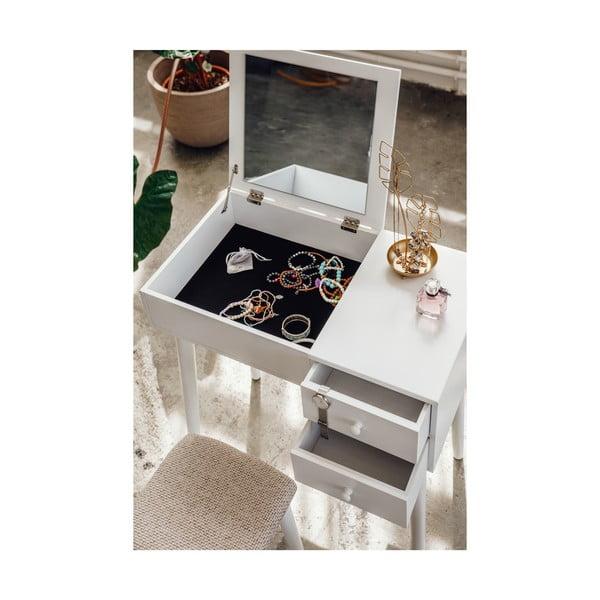 Biała toaletka z lustrem, schowkiem na biżuterię i 2 szufladami Chez Ro Beauty