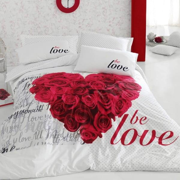 Pościel z prześcieradłem Be Love Red, 200x220 cm