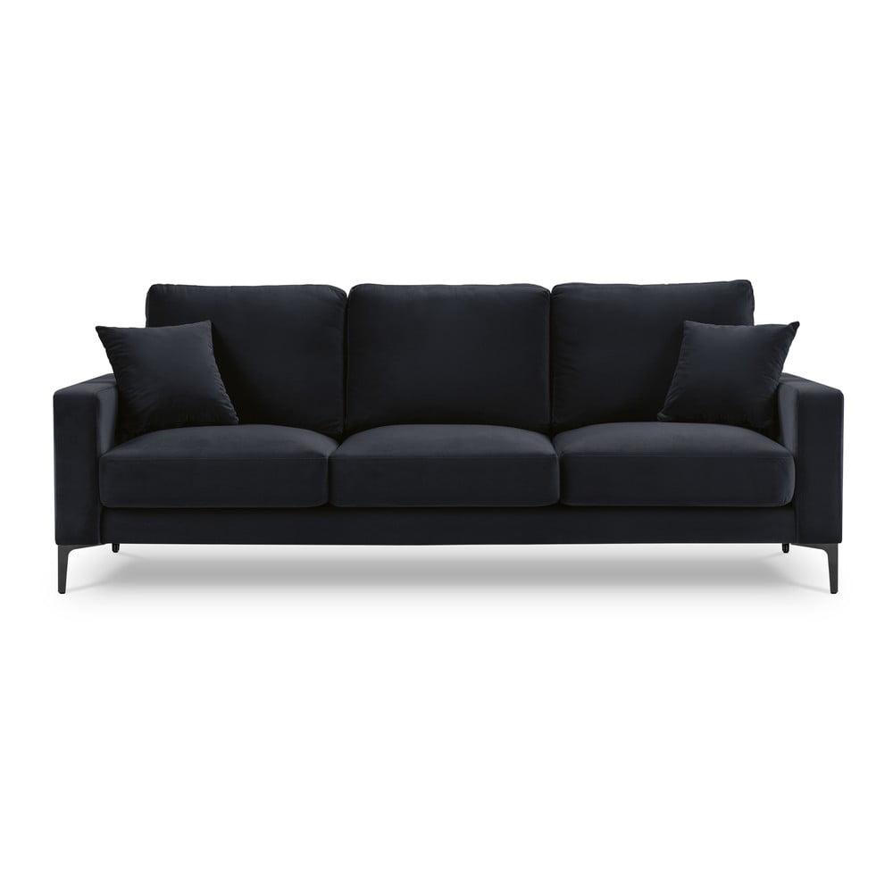 Ciemnoniebieska aksamitna sofa Kooko Home Harmony, 220 cm