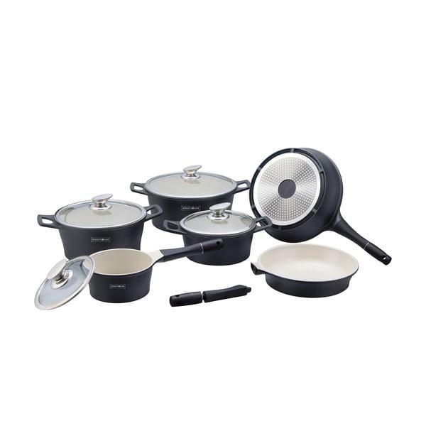 10-częściowy ceramiczny komplet garnków i patelni Die Cast, czarny