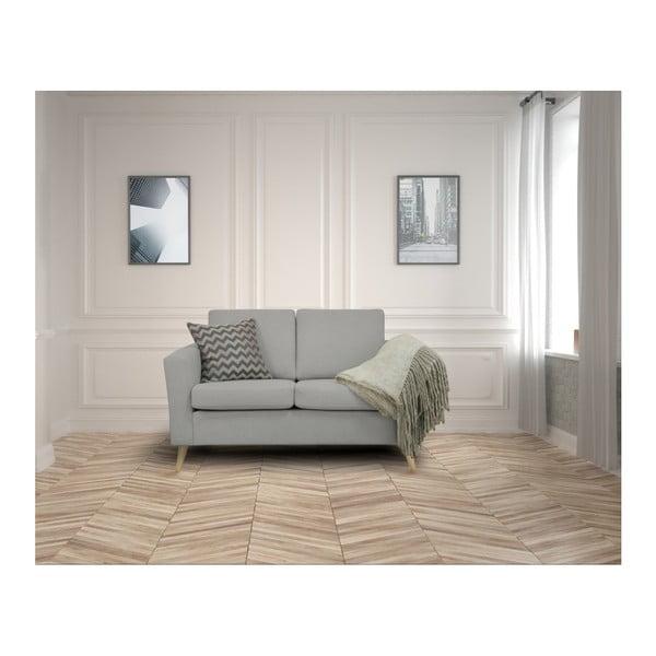 Jasnoszara sofa 2-osobowa z naturalnymi nogami Helga Interiors Alex