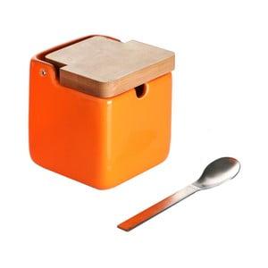 Pomarańczowa   cukiernica z łyżeczką Versa Spoon Wood