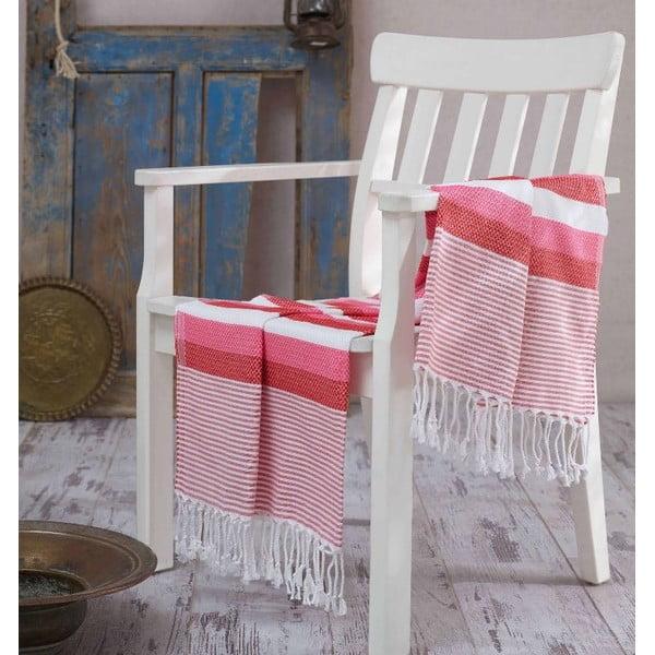 Czerwono-różowy ręcznik Hammam Pamukkale, 100x180cm