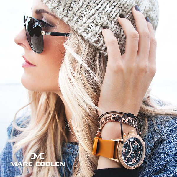 Zegarek damski Marc Coblen z dodatkowym paskiem i obręczą P110
