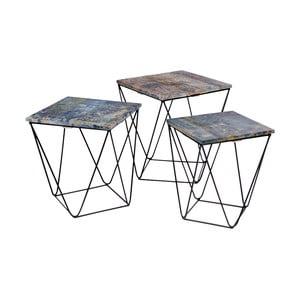 Zestaw 3 stolików z niebieskim blatem z drewna mangowego House Nordic Ranchi