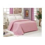 Różowa bawełniana narzuta na łóżko Audrey, 200x240cm