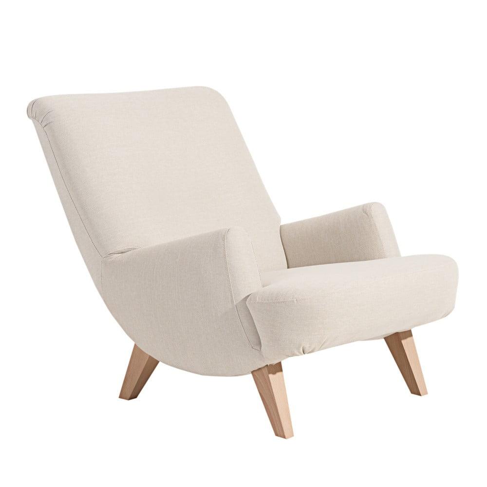 Kremowy fotel z jasnobrązowymi nogami Max Winzer Brandford