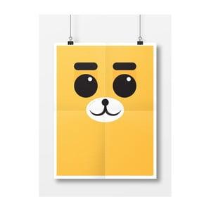 Plakat Niedźwiedź, A4, żółty