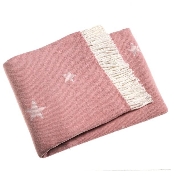 Koc Stars 140x180 cm, różowy