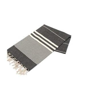 Czarny ręcznik Hammam Hereke, 100x180cm