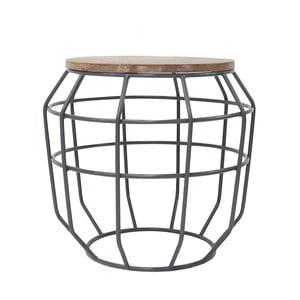 Ciemnoszary stolik z blatem z drewna mangowca LABEL51 Pixel, Ø 51 cm