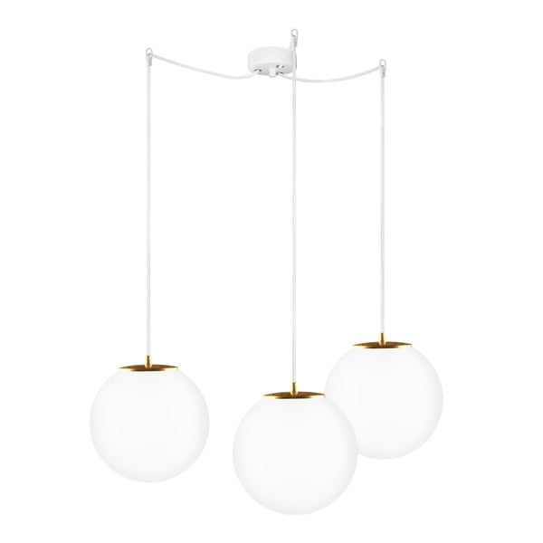 Lampa potrójna Tsuki M Elementary biało-złota, matowa