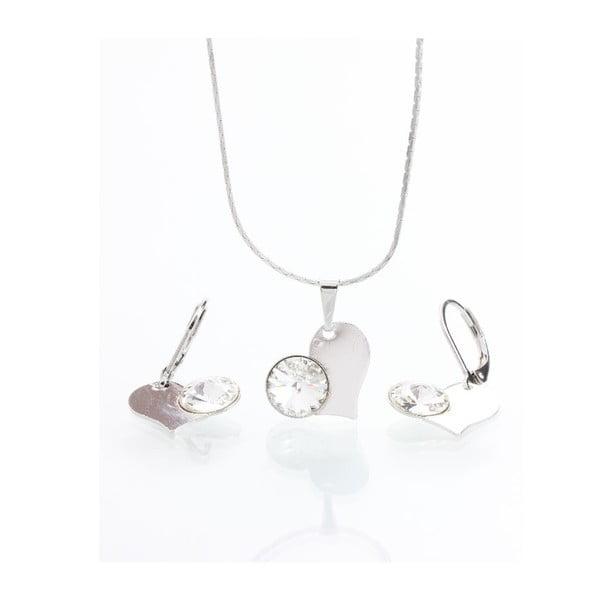 Komplet naszyjnika i kolczyków z kryształami Swarovskiego Yasmine Pure Heart