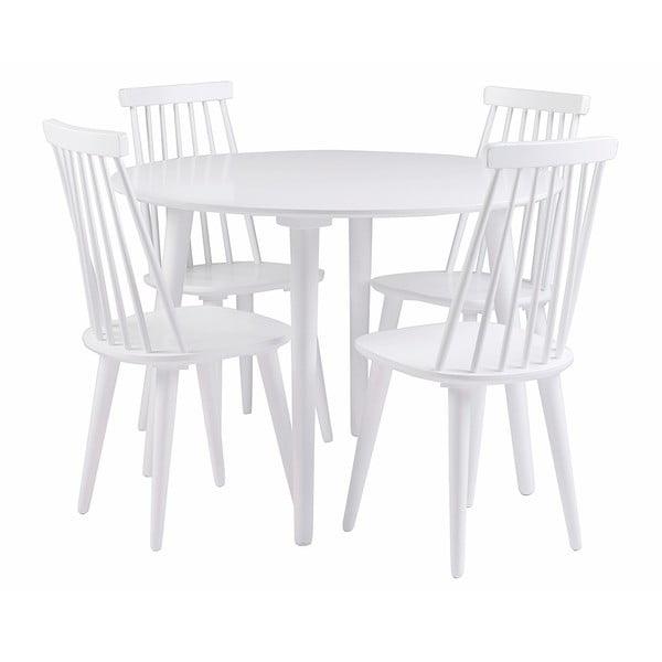 Biały stół z drewna kauczukowego Rowico Lotte