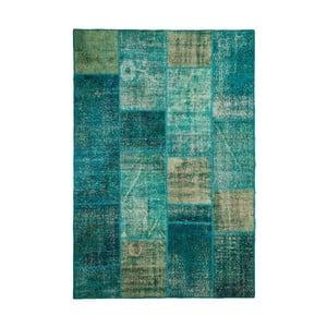 Dywan wełniany Allmode Patchwork Turquoise, 150x80 cm