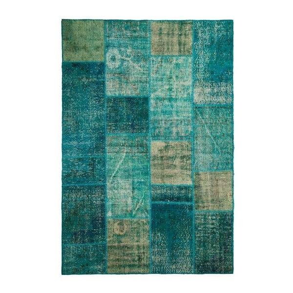 Dywan wełniany Allmode Patchwork Turquoise, 180x120 cm