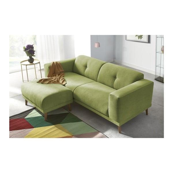 Zielona sofa 3-osobowa z podnóżkiem Bobochic Paris Luna