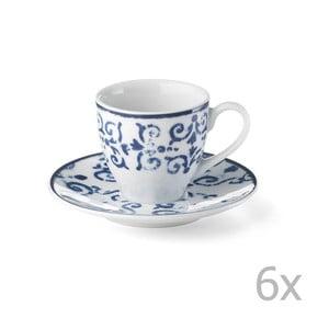 Zestaw 6 porcelanowych filiżanek Antico Blue, 100 ml