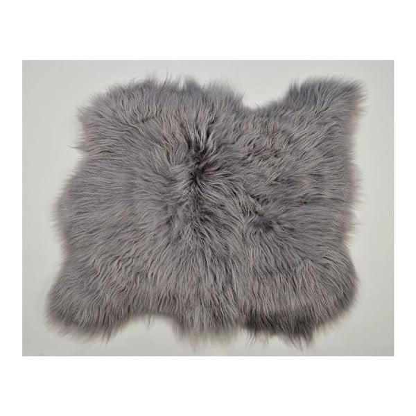 Szary dywan futrzany z długim włosiem, 90x80 cm