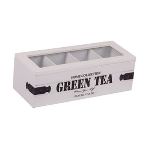 Białe pudełko z 4 przegródkami na herbatę Green Tea