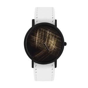Zegarek unisex z białym paskiem South Lane Stockholm Avant Gold Scratch