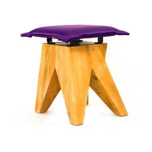Drewniany stołek Low, fioletowy