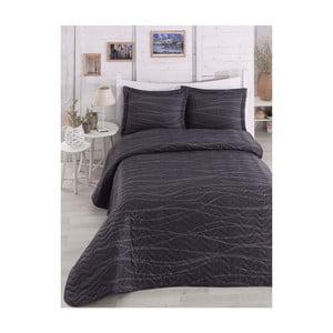Czarna pikowana narzuta dwuosobowa z poszewkami na poduszki Verda Grey, 200x220cm