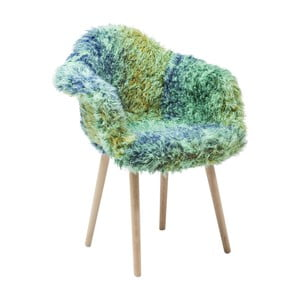 Zielono-niebieskie krzesło do jadalni z obiciem ze skóry ekologicznej Kare Design Eyti