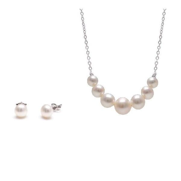Komplet naszyjnika i kolczyków z pereł słodkowodnych Chain, biały