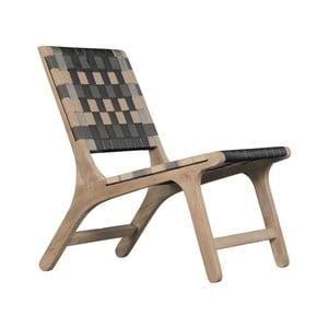 Fotel z litego drewna mangowego Woodjam Stripe