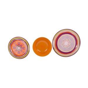 Komplet 18 talerzy ceramicznych Zafaf Orange