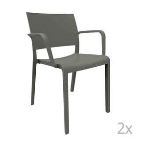 Zestaw 2 ciemnoszarych krzeseł ogrodowych z podłokietnikami Resol Fiona