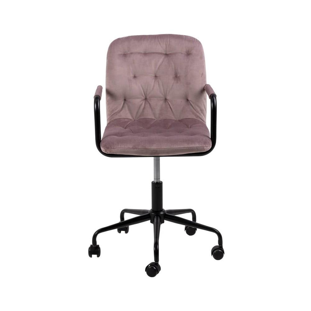 Różowe krzesło biurowe z aksamitnym obiciem Actona Wendy